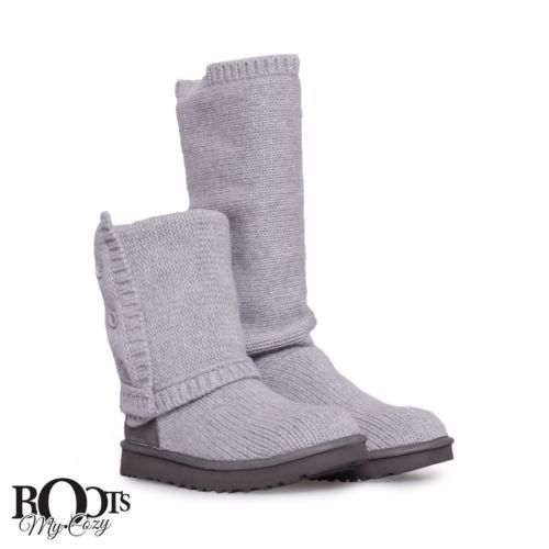 UGG CLASSIC CARDY CASHMERE HEATHER GREY TALL BOOTS WOMENS SIZE US 6/UK 4.5 NEW