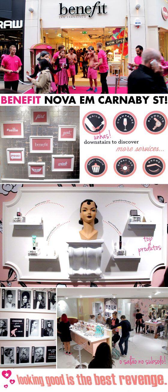 Benefit, nova loja, carnaby street, manicure, escova, sobrancelha, tratamentos, salão, preço, centro, london