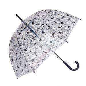 Parapluie transparent - cloche - droit - imprimé d'étoiles noires