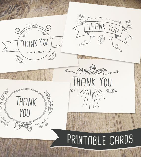 Hand Drawn Printable Thank You Cards