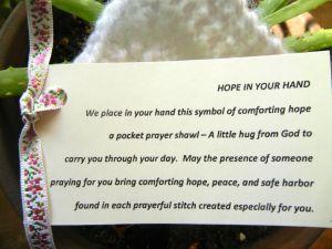 card to attach to pocket prayer shawls