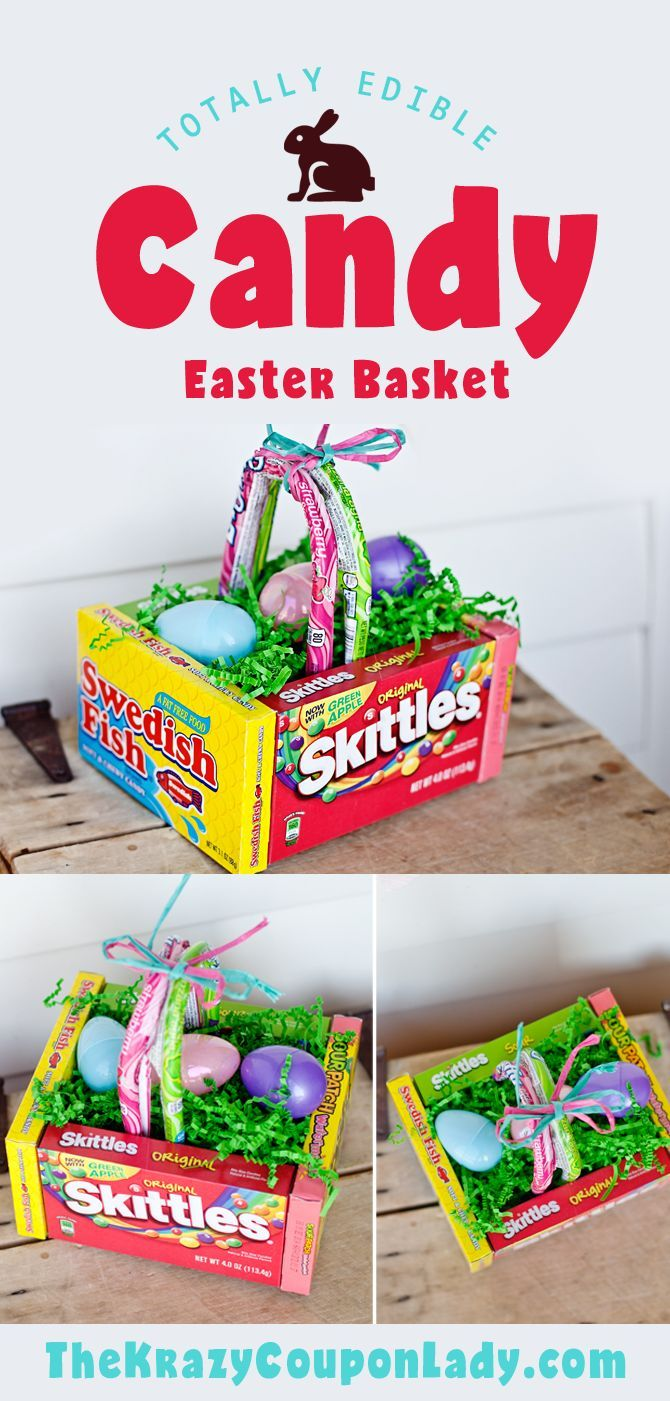 DIY Edible Easter Egg Basket! Easy to make Easter basket with Easter candy from Dollar Tree!
