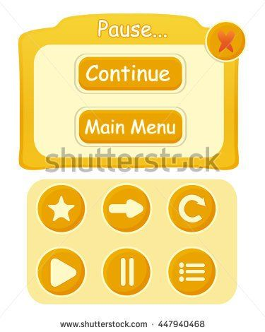 Game UI with different types of buttons - stock vector