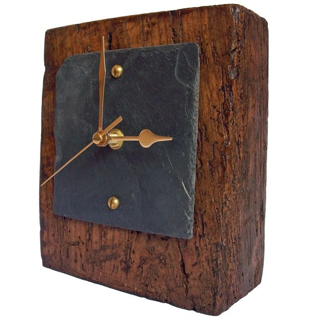 Oak Block Slate Face Mantel Clock - Folksy