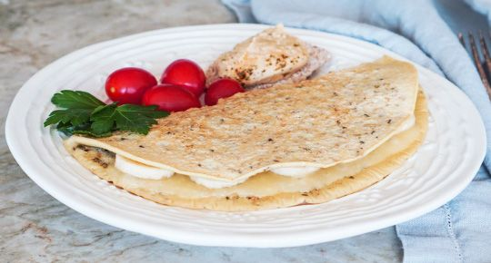 Save Print Omelete de Aveia Nutritivo Delicioso e nutritiva receita de omelete com flocos de aveia.