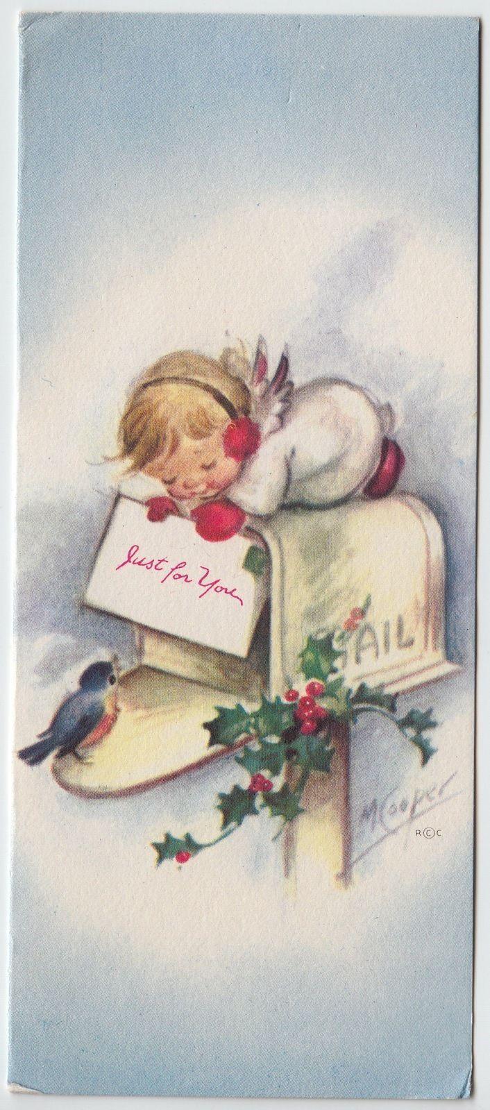 Vintage Greeting Card Christmas Angel Mailbox M Marjorie Cooper Rust Craft E288   eBay