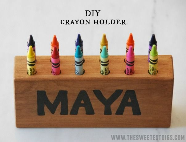 A DIY wooden crayon holder - a great personalized kids gift idea!! - via the sweetest digs
