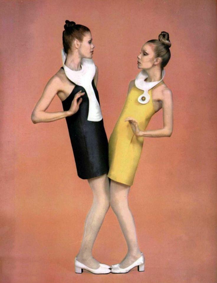 Pierre Cardin 1960s space age fashion 60s color photo print ad shift dresses black yellow models designer