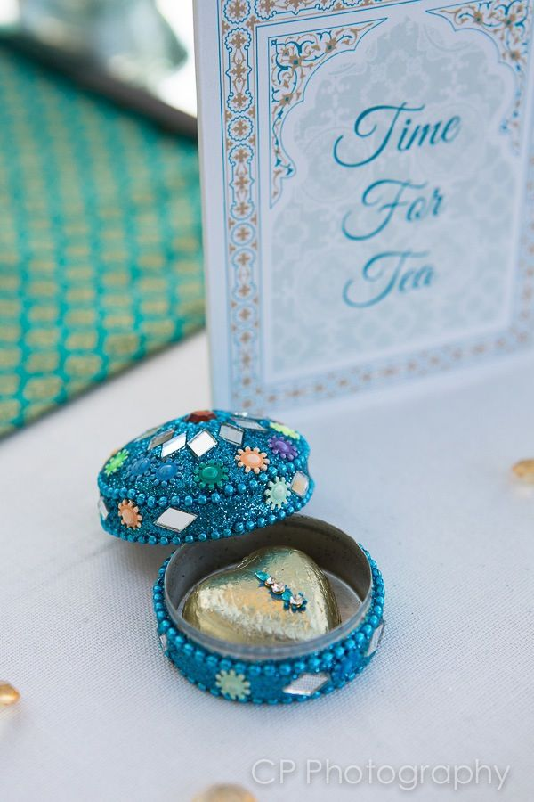 Asian trinket gemstone favour box with milk heart chocolate in foil wrapper adorned with bindi.  By www.fuschiadesigns.co.uk.