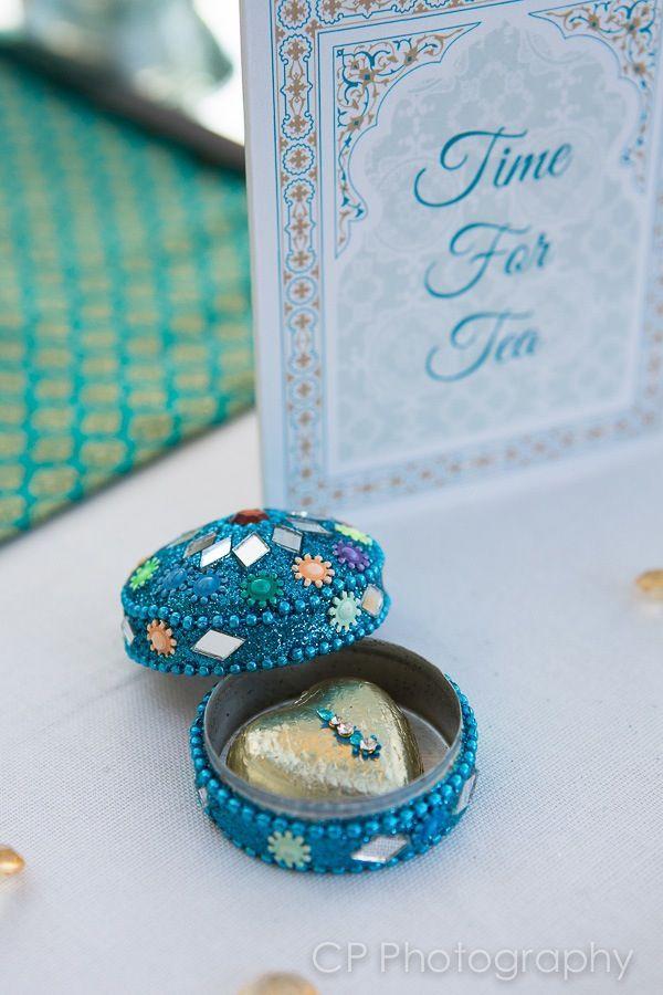 Asian trinket gemstone favour box with milk heart chocolate in foil wrapper adorned with bindi.  By www.fuschiadesigns.co.uk.