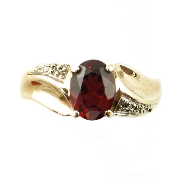 Garnet Ring in 10K Gold with Diamond Accents • 10K Gold Ring with Oval Garnet • Size 7 from EncoreJewelryandGems on Etsy