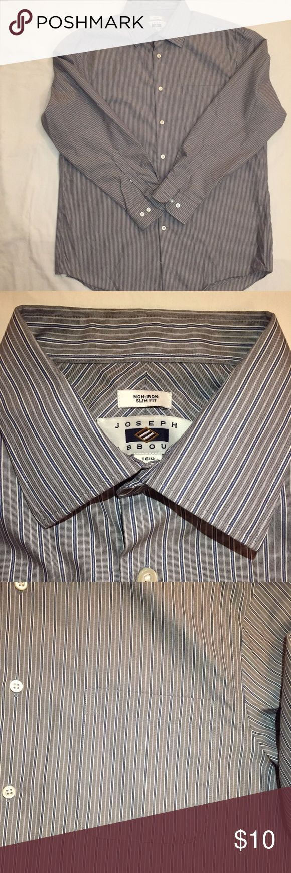 EUC Joseph Abboud Striped Dress Shirt Slim Fit Size 16.5, 32/33 arm lentgth.  Slim fit, Non iron Joseph Abboud (Men's Warehouse brand) Joseph Abboud (Men's Wearhouse) One front pocket, Button sleeves Excellent condition-- now flaws.  Bundle with other men's clothes and I will send you an offer for 50% off! Joseph Abboud Shirts Dress Shirts
