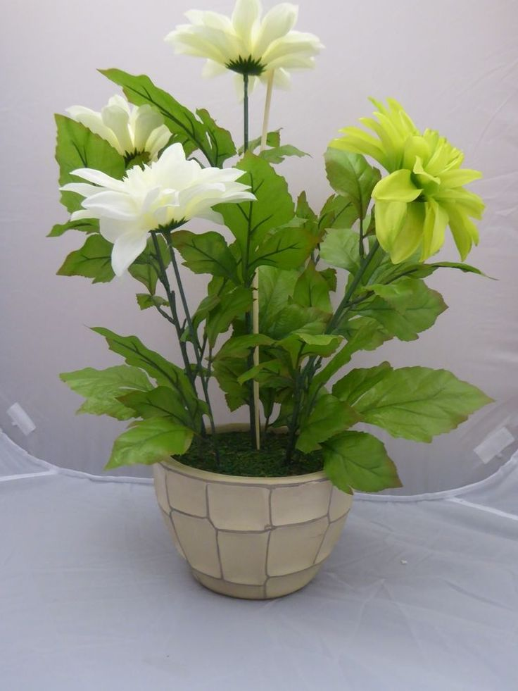 Artificial Potted Plants Dahlias Green and Cream in Patterned Cream Ceramic Pot