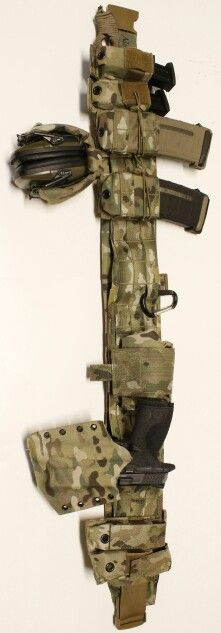War belt: kydex multicam holster for M&P handgun, magpul pmag magazine pouches, m&p handgun magazine pouches, howard leight electronic ear protection with multicam modular headset cover