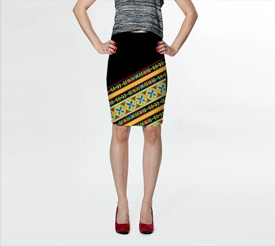 Elizabethan Folkloric Stripe fitted pencil spandex skirt by #PatriciaSheaDesigns - designed in Maine, made in Canada
