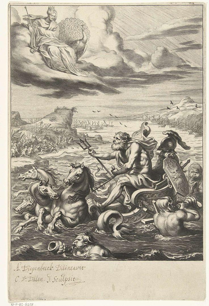 Cornelis van Dalen (II) | Neptunus in triomfwagen kalmeert zee tijdens Trojaanse oorlog, Cornelis van Dalen (II), 1648 - 1664 | Neptunus zit op triomfwagen getrokken door vier zeepaarden en begeleid door tritons of meermannen. De zeegod kalmeert de zee die door Juno uit wraakzucht voor de Trojanen in storm verkeerde. Op het vaste land strijden de Trojanen nog tegen de Grieken maar de schepen liggen op een kalme zee aan de kust.