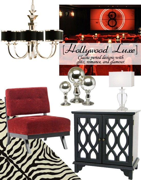 Influenced by classic period designs, the Hollywood Luxe look blends elegant design lines with rich opulent finishes like mirror, chrome, and lacquer. This style is glamorous and romantic, with a lot of glitz.: Lampsplus, Accent Color, My Style