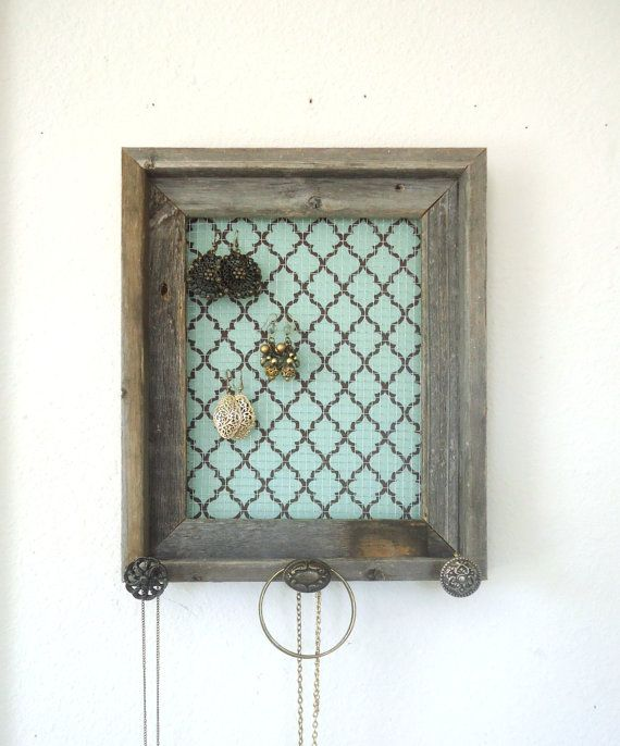 Barnwood Jewelry Organizer Holder Tiffany Blue & par TheHopeStack, $43.50