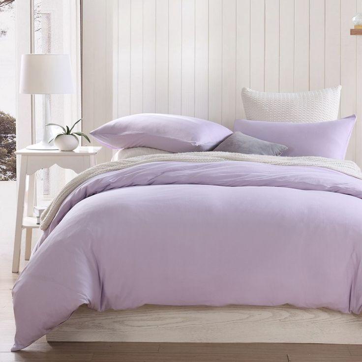 Cotton Knit Pure Color Light Purple Duvet Cover Comforter Sets  | Sufey.com