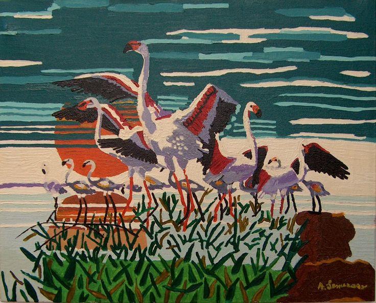 Fenicotteri - Olio su tela - cm. 40 x 50 - Anno: 1994