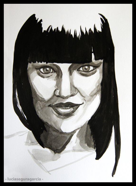 Retrato_Jessie J. Técnica: tinta china Soporte: papel de acuarela Tamaño: 24 x 31 cm Fecha: 27 de marzo del 2012  © Lucia Segura