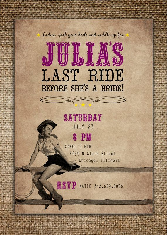 Bachelorette Party Invitation : Bride's Last Ride Country/Western Theme with Pin Up Cowgirl on Etsy, $18.00