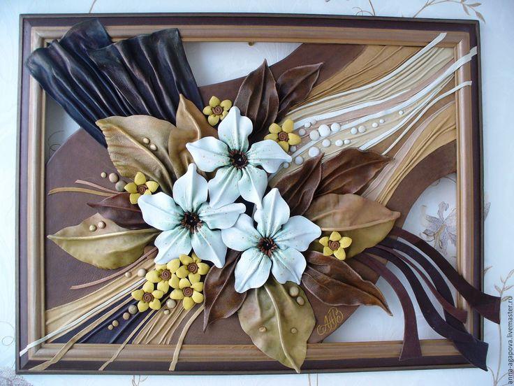 """Купить Картина из кожи """"Букет с лилиями"""" - коричневый, картина, картина из кожи, картина с цветами"""
