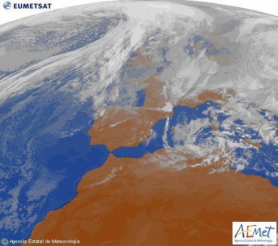Imagen de la zona de Europa y Norte de África del canal infrarrojo del satélite Meteosat-9, procesada para darle color.domingo, 25 enero 2015 a las 13:00