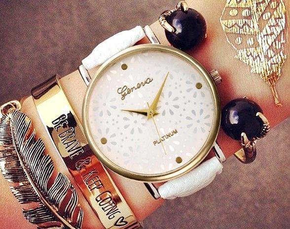 Zegarek GENEVA Sale Ażurowe Kwiaty Koronka