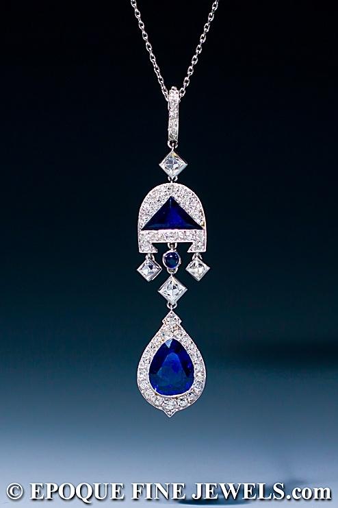 Cartier - A very fine Art Deco sapphire and diamond pendant,