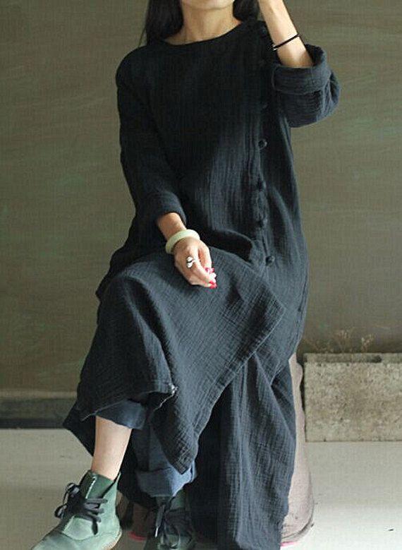 Black long sleeve thick linen long cardigan loose от FashionGD