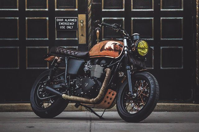 Miss Moneypenny NYC Triumph Bonneville           ~            Return of the Cafe Racers