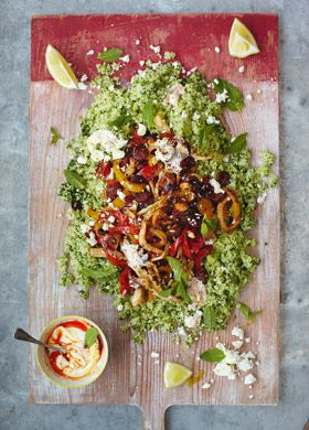 Jamie's 15 minute meals - Chorizo & Squid Greek-Style Couscous Salad: Made this tonight; it was fab and really did only take 15 minutes.