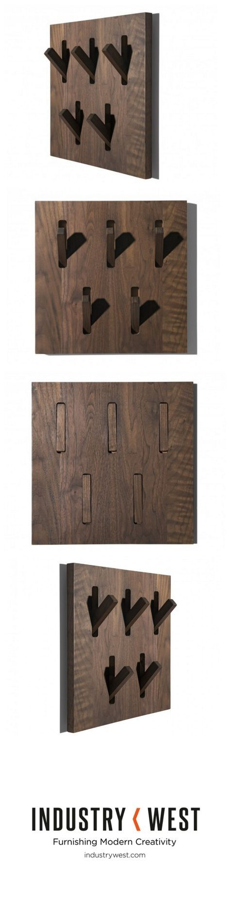 This walnut coat rack is both an exquisite design piece and a space-saving, storage solution. Designed by Patrik Turner for Ethnicraft, this piece is both aesthetically pleasing and practical. Flip out some or all of the Utilitile's hooks to hang coats, umbrellas or really anything.