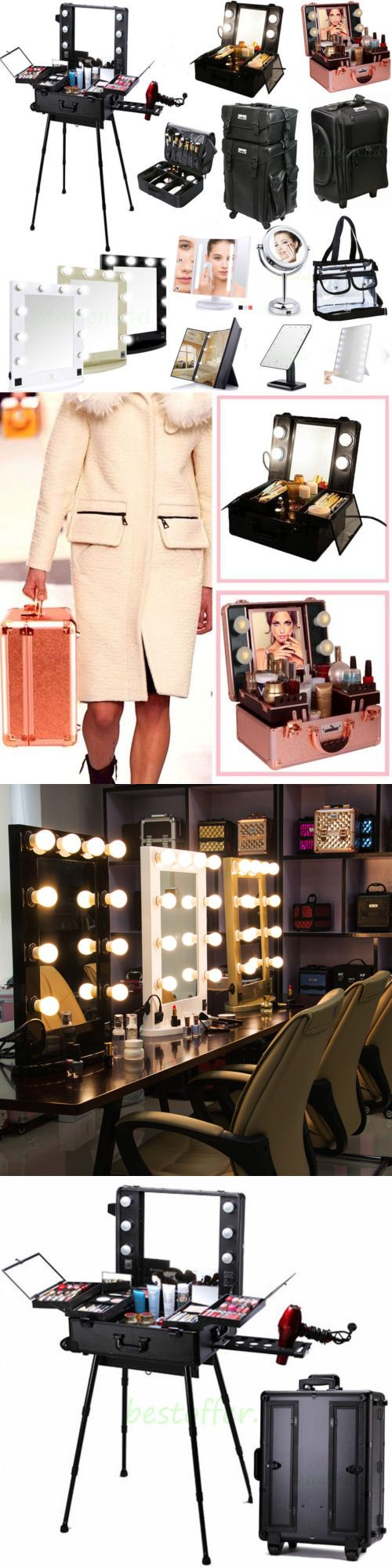 Makeup Mirrors: Professional Makeup Case Box W Light Cosmetic Bag Led Lighted Make Up Mirror -> BUY IT NOW ONLY: $189.98 on eBay!