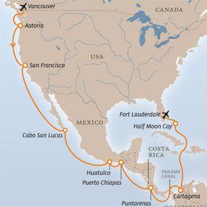 Die Passage steht auf der Liste vieler Kreuzfahrer ganz oben: der legendäre Panamakanal, durch den Sie in nicht einmal zehn Stunden vom Pazifik zum Atlantik gelangen. Doch Mittelamerika hat mehr zu bieten: Erkunden Sie die umschwärmte mexikanische Riviera, die faszinierende Maya-Kultur, traditionelles Handwerk, Kolonialgeschichte und eine reiche Tier- und Pflanzenwelt. Ein unvergessliches Reiseerlebnis.