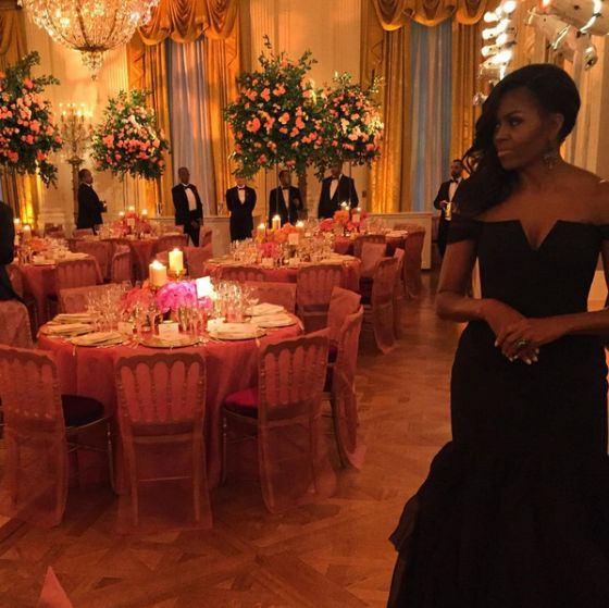 Michelle Obama China State Dinner 9/25/15. Dress by Vera Wang.