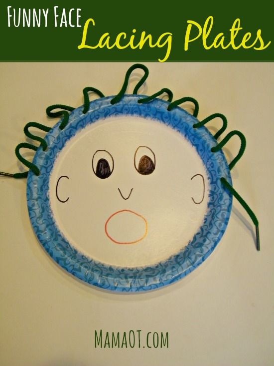 Punch holes along the edge of a paper plate, draw a funny face, and show your kiddo how to make crazy hair by lacing string through the holes. Way more fun than a boring lacing strip! #pediOT #finemotor