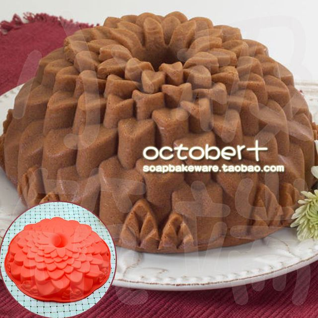 TO-LOVE large Blossom Bundt Cake Silicone Mould and Baking Pan flower bread bakeware