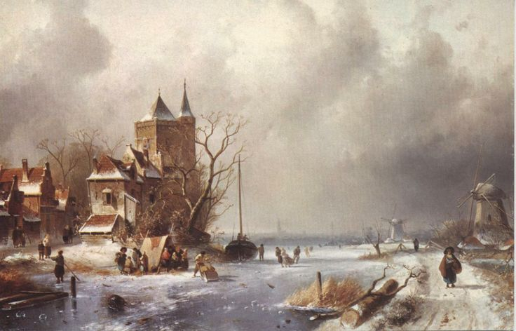 4th Dec: 'Dutch Winter Scene', by Charles Leickert, 1875.