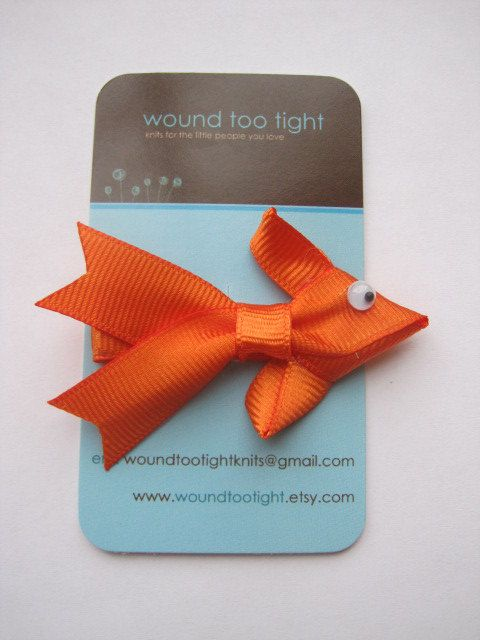 Goldfish Hair Clip by WoundTooTight on Etsy, $3.00