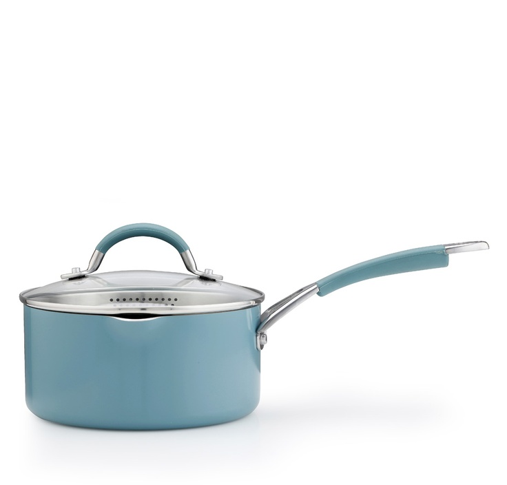 This 16cm/1.4L aluminium Inspire saucepan in teal features Prestige's innovative Cushion Smart interior, steel and silicone handles and a glass lid with a handy straining function. This saucepan features a pouring lip, making dispensing liquid from the saucepan efficient and simple.    Available for £28.80.