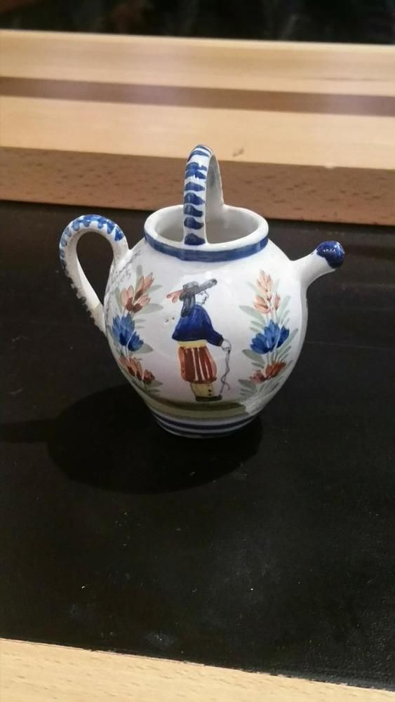 VINTAGE HENRIOT QUIMPER POTTERY FRENCH FAIENCE MINIATURE WATERING CAN