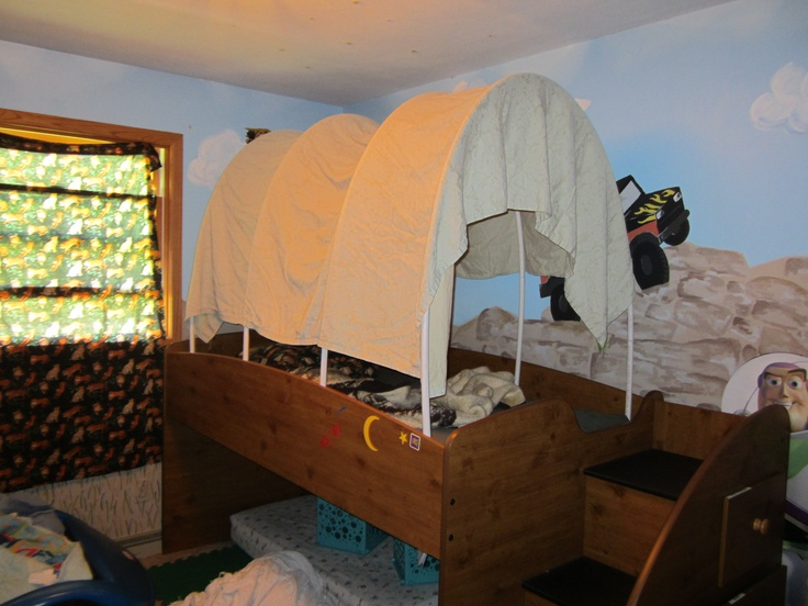 DIY conopy bed for your kids. Take 10 ft. lengths of PVC pipe to make the half circles, you can make them smaller if you want the canopy to be shorter. Make a base for the half circles to go into with PVC pipe. For the top just take an extra sheet that you have lying around the house and throw it over the top. Walla!! You now have a canopy over your child's bed.