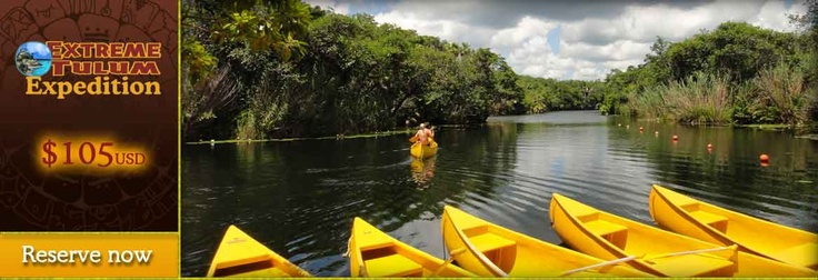 "Tl: Extreme Tulum Expedition $105 Explore the Tulum Ruins, Beach, Jungle, Lake, Cenotes, Caribbean Sea and Natural Lagoon. Includes Zip Lining, Canoeing, Cliff diving and Snorkeling in the Jungle Lake, Blue Cenote and Yal-ku Natural Aquarium Lagoon. Includes a (4) course meal at ""Oscar & Lalo Restaurant, Bar & Grill"", Snacks and Drinks throughout the day."
