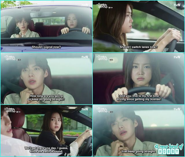 funny scene it was hye ji first time driving she was only driving the car straight and hyun min singing the earth is round we will go atthe end one day - Cinderella and Four Knights - Episode 12