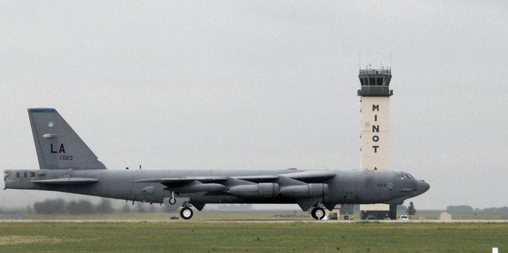 B-52H-170-BW Stratofortress 61-023 at Minot Air Force Base, North Dakota, right profile, color (Senior Airman Cassandra Jones, U.S. Air Force)