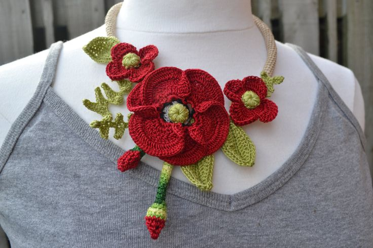 ❀  Papoula Vermelha Crochê Colar Gargantilha de Flor Flores -  /  ❀  Red Poppies Crochet Necklace Choker Flower Flowers