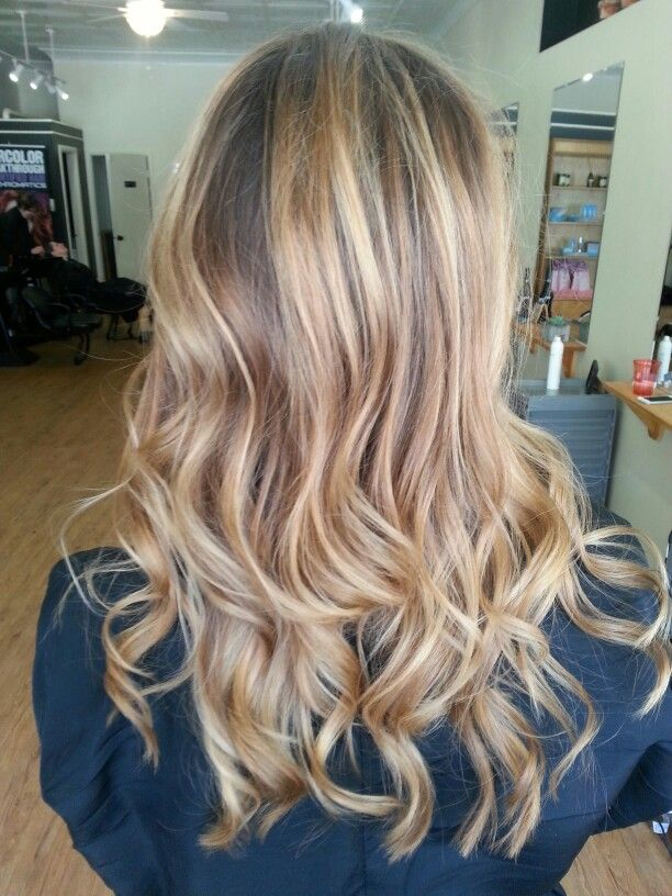 Full Head Of Balayage Highlights On Dark Blonde Hair
