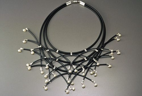 Necklace | Tom McCarthy. Sterling, Rubber, Freshwater Pearls